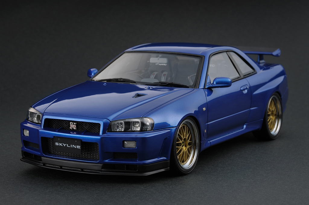 Miniature Nissan Skyline R34 GT-R V-Spec II Bayside Blue IG0162 Ignition-Model. Nissan Skyline R34 GT-R V-Spec II Bayside Blue IG0162 miniature 1/18